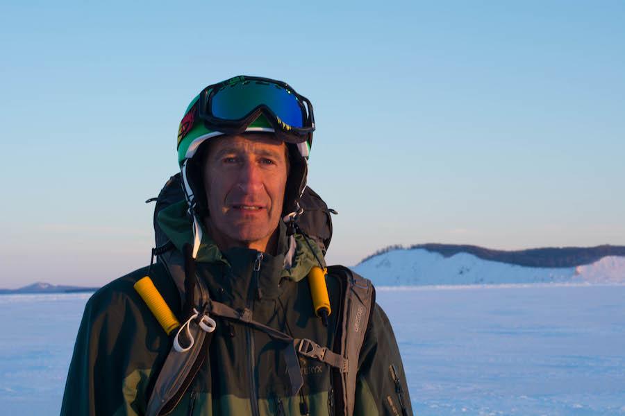 Bob Sutherland on the ice off Pyramid Point