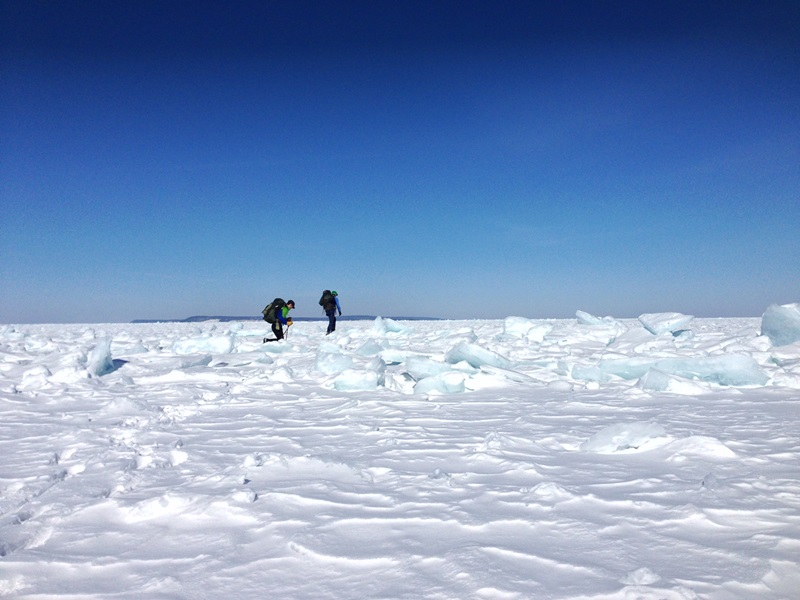 Half a mile of jagged ice welcomed us to the lake and made for very difficult going.