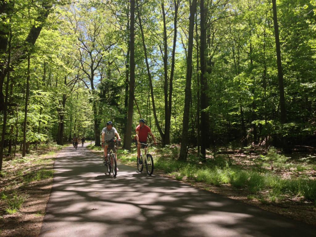 Bob and friends cruising along the Sleeping Bear Heritage Trail towards Glen Haven.