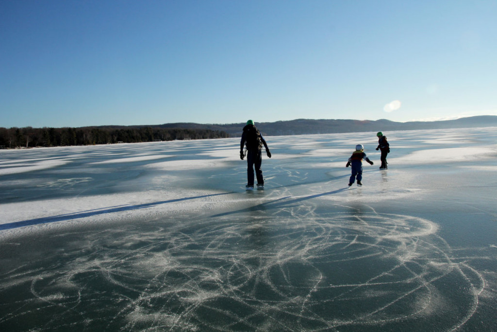 Perfect ice for skating on Glen Lake