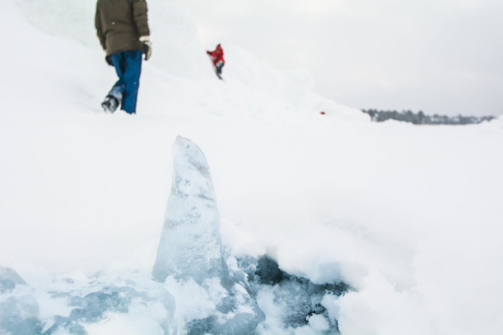 Covered by a fresh snow, the Lake Michigan Ice was slipper and jagged. Not an easy trek!