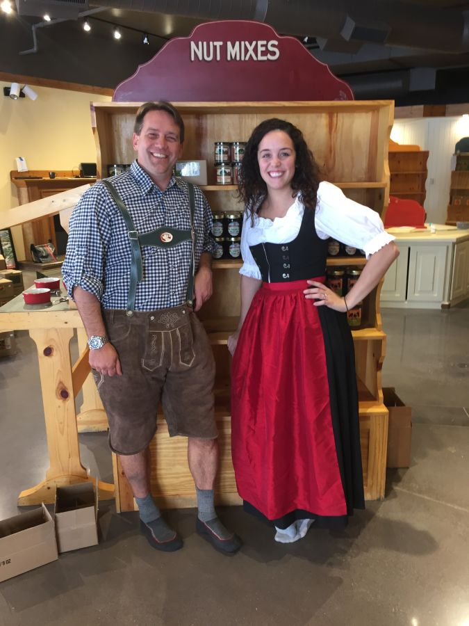 Jason our VP of Sales and Katie our Ann Arbor store manager showing off their little Bavaria lederhosen.