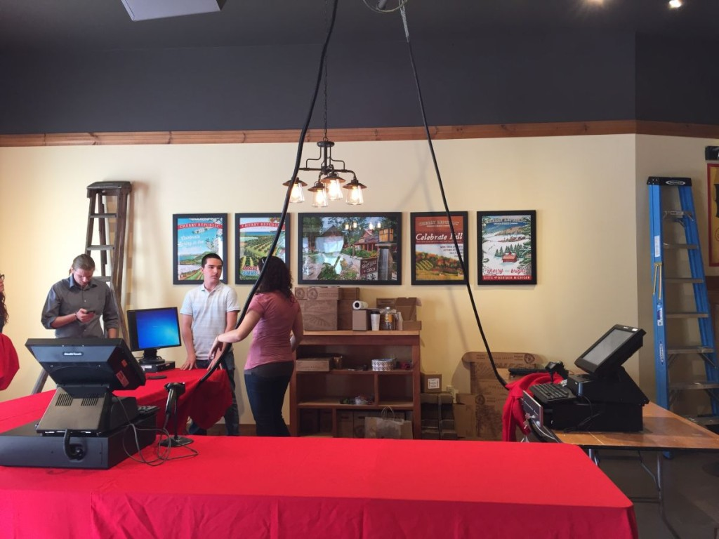 Training day! We have a few more furniture pieces we are waiting for, but that won't stop us! Above our Ann Arbor store manager Katie is training a few of our new Cherry Republic Frankenmuth store staff.
